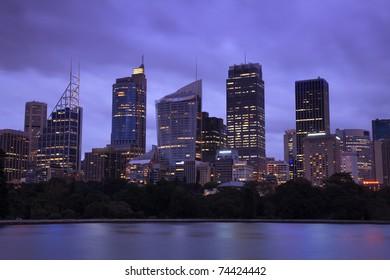 Sydney city CBD skyscrapers cityscape twilight panoramic close-up image