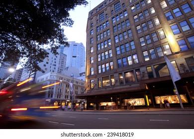 Sydney city center at night, heavy traffic