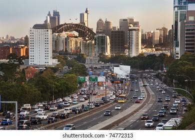 sydney city highway full of cars traffic jam rush hour toll street motor road commuter delays