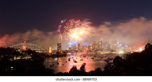 Sydney City panoramic view on fireworks at new year celebration light show dusk lights reflection in harbour over CBD and bridge
