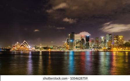 Sydney city skyline at night