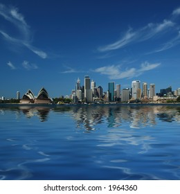 Sydney City Skyline Reflect in Sydney Harbour Waters
