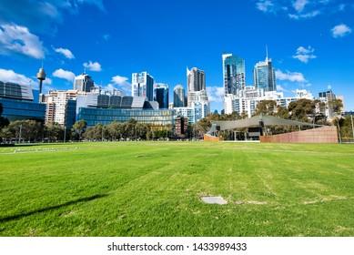 Sydney City skyline from Tumbalong Park on a beautiful day.