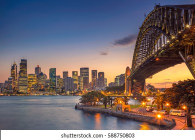 Sydney. Cityscape image of Sydney, Australia with Harbour Bridge during summer sunset.