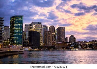 Sydney cityscape view during dusk