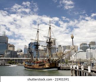 SYDNEY -  DECEMBER 12: A Replica of Captain Cooks Endeavor docks at the Darling Harbour, Maritime Museum. December 12 2008 in Sydney, Australia.