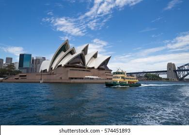 SYDNEY - FEB 05 2017: Sydney Ferries public transport ferry service on Sydney Harbour and the Parramatta River in Sydney, Australia.