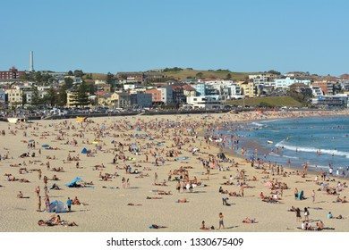 SYDNEY - FEB 17 2019:Bondi Beach in Sydney, New South Wales Australia. Bondi Beach is one of AustraliaÕs most iconic beaches.