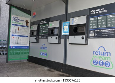 SYDNEY - FEB 21 2019:Return and Earn vending machine in Sydney New South Wales, Australia.It's the largest litter reduction scheme in NSW state to reducing the volume of litter by 40% by 2020