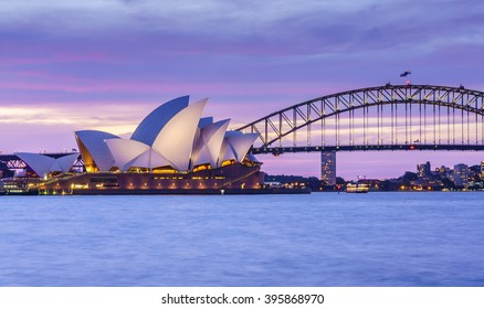 SYDNEY - FEB 22: Sydney Opera House and Harbour Bridge at twilight on Feb 22, 2016 in Sydney. It is the state capital of New South Wales and the most populous city in Australia.