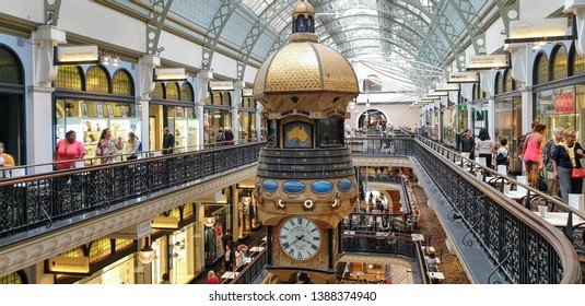 SYDNEY - FEBRUARY 2019: The Clock At Queen Victoria Building Mall in Sydney