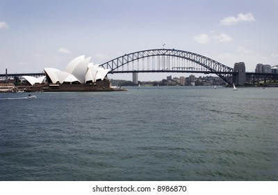 Sydney habour, view with Sydney harbour bridge and opera house