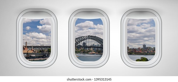 Sydney Harbor Bridge as seen from three airplane windows. Holiday, vacation and travel concept.