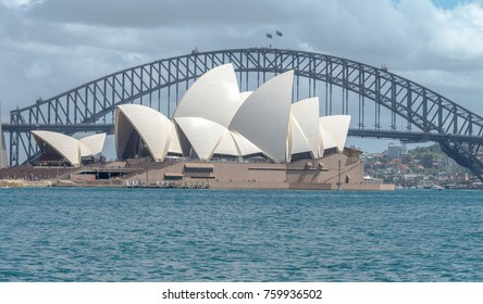 Sydney Harbor Bridge's Opera House during winter, Sydney Australia Oct 2017.