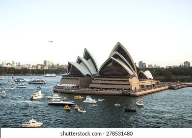 Sydney harbor with Opera House - panorama taken on 19 of February 2007 during Queen Elizabeth 2 cruise ship visit.