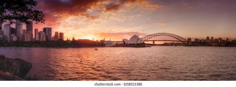 Sydney Harbor sunset panorama