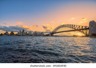Sydney Harbour Sydney Australia at sunset.Oct 02,2016Sydney Harbour is beautiful meandering waterway,famous around the word.