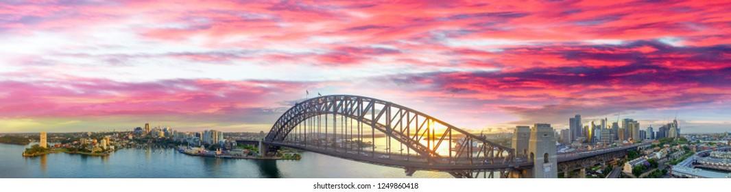 Sydney Harbour Bridge, aerial view at sunrise.