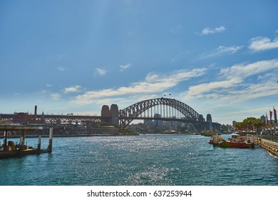 Sydney harbour bridge. August 17, 2015. Sydney harbour bridge the viewed from Circular Quay railway station on the sunshine day. Australia.