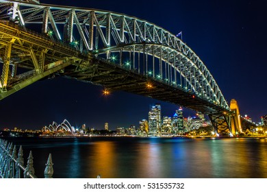 Sydney Harbour Bridge - Australia at night capturing also part of the Sydney CBD and Opera House.