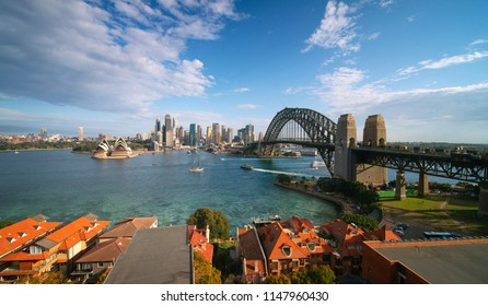 Sydney harbour, harbour bridge and city landmarks from aerial panorama on sunny morning, Australia.