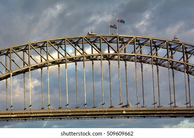 Sydney Harbour Bridge east side during sunrise in Sydney, Australia.