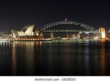 Sydney Harbour Bridge and Opera House at Night