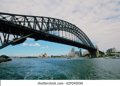 Sydney Harbour Bridge and Opera House as a background in winter 2015