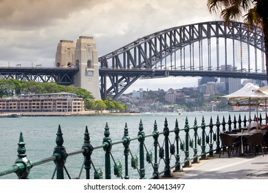 Sydney Harbour Bridge in a quiet spring sunset in Sydney, Australia