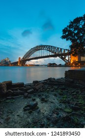 Sydney Harbour Bridge view at dusk.