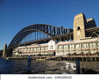Sydney Harbour Bridge from Walsh Bay, Sydney, Australia