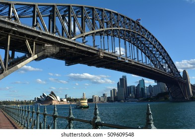 Sydney Harbour Bridge west side and Sydney Skyline, Australia during sunset.