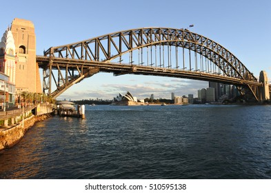 Sydney Harbour Bridge west side and Sydney Skyline during sunset in New South Wales Sydney, Australia