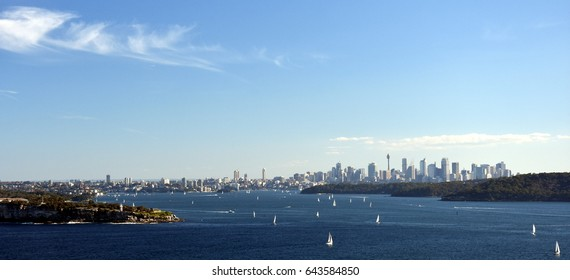 Sydney Harbour and CBD city view from North Head (Sydney, NSW, Australia).