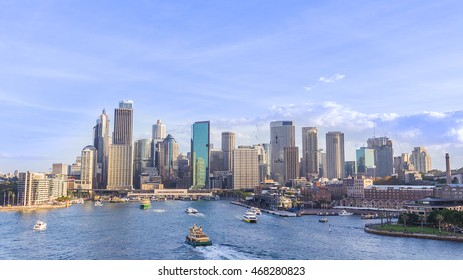 Sydney harbour with city central business district at the noon