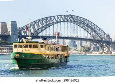 Sydney Harbour City Ferry in Circular Quay with Sydney Harbour Bridge background