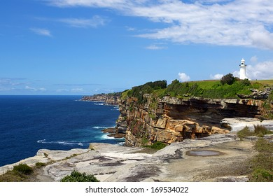 Sydney Harbour entrance with Macquarie Lighthouse in the background