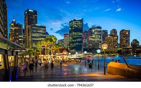 Sydney Harbour and night skyline, Sydney NSW, Australia taken on 2 January 2018
