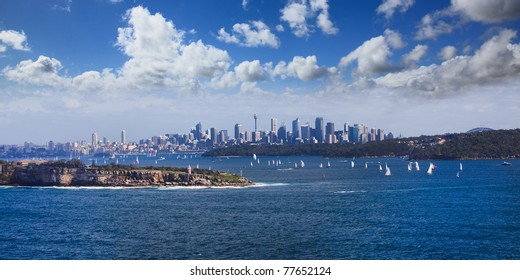 Sydney Harbour ocean water wide panoramic view on the CBD city from North Head entrance to harbor