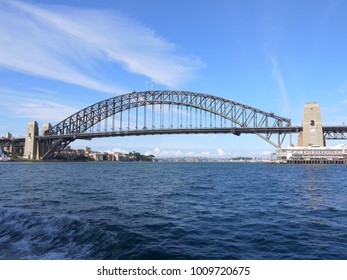 Sydney harbour on a beautiful sunny day with spectacular view of the whole harbour bridge
