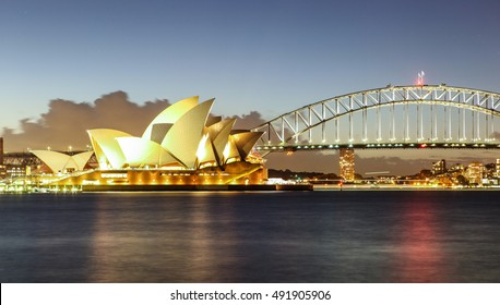 Sydney Harbour with Opera House and Bridge in Australia