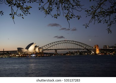 Sydney harbour  with opera house and harbour bridge background viewed from Royal botanic garden during sunset taken on 9th december 2016,New South Wales,Australia