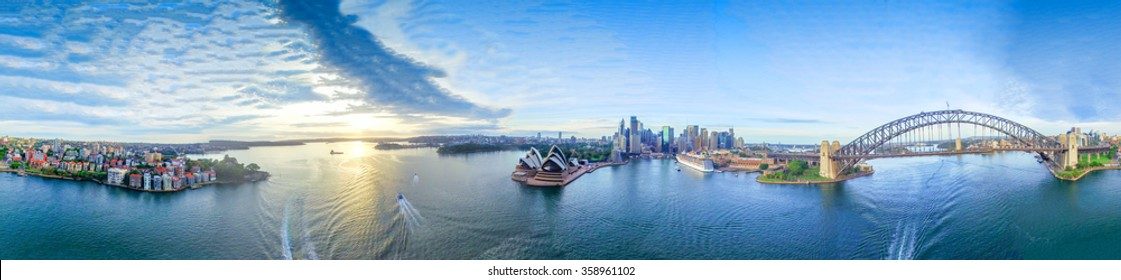 The Sydney Harbour. Panoramic 360 view of  city landmarks.