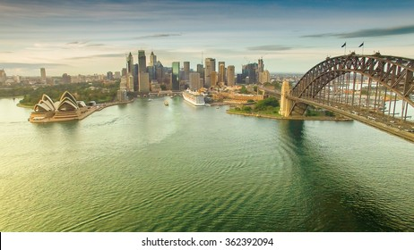 Sydney Harbour view from helicopter.