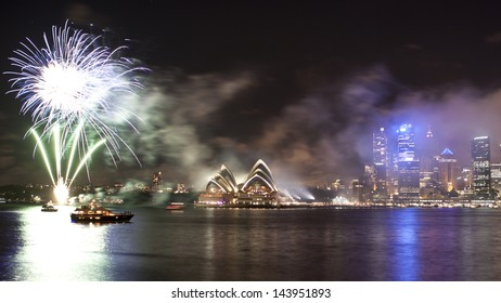 SYDNEY - Jan 1: New Year countdown firework show next to Sydney Opera House in Sydney, Australia on January 1,2012. it is one of the biggest celebration event in the city.