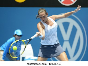 SYDNEY - JAN 7: Roberta Vinci from Italy hits a forehand during her first round match in the APIA Sydney Tennis International. Sydney January 7, 2013.