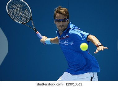 SYDNEY - JAN 8: Tommy Robredo from Spain hits a forehand in his first round match in the APIA Sydney Tennis International. Sydney January 8, 2013.