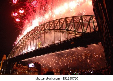 SYDNEY - JANUARY 1: News years eve celebrations at Harbour Bridge, attended by almost 1 Million people from all over the world.on January 1, 2013