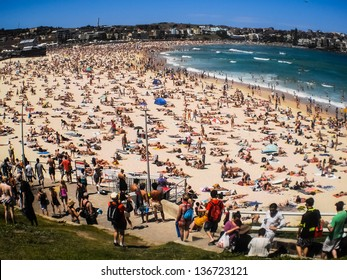SYDNEY -JANUARY 1: People relaxing on the beach to celebrate new year on 1 January 2013 at Bondi beach in Sydney, Australia.Bondi beach is one of the most famous beach in the world.