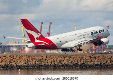 SYDNEY - JULY 11: A Qantas Airline A380 is seen here in Sydney airport taking off as seen on July 11, 2013.